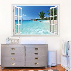 Beach Resort 3D Window View Wall Stickers Art Vinyl Mural Decal Home Decor DIY
