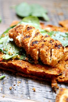 Grilled Breaded Tofu Steaks with Spinach Salad and Tomato Flaxseed Bread