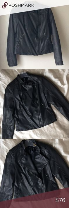 🎉HOST PICK!!🎉Black Vegan Leather Moto Jacket Gorgeous embossed vegan leather moto jacket. Has a grayish tone to it. Absolutely beautiful! See photos for measurements and details. Tags were removed, but was never worn. Still in plastic bag it was shipped in. All deodorizers it came with are still in the pockets etc. G by Giuliana Jackets & Coats