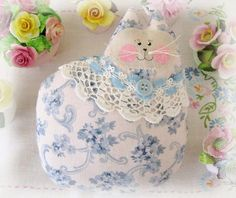 Cat Pillow Doll Cloth Doll 7 inchs Blue Print  by CharlotteStyle, $16.00