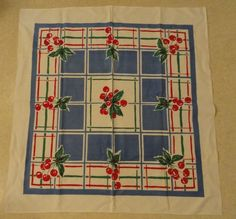Vintage 1940s 50s Cherry Red Blue Tablecloth | eBay