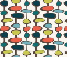 Mid-Century Modern Bead (shrimp palette) fabric by studiofibonacci on Spoonflower - custom fabric
