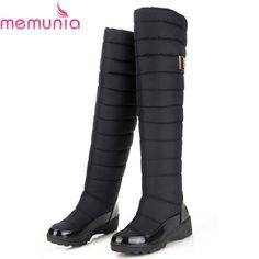 MEMUNIA Nga khởi động mùa đông giữ đầu gối ấm cao khởi chân tròn xuống lông nữ thời trang phụ nữ tuyết khởi động giày
