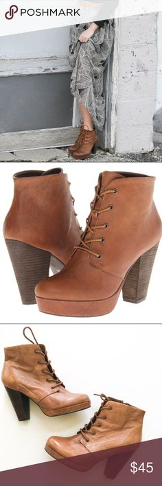 Steve Madden Raspy Cognac Leather Booties These are gently used Steve Madden Raspy Cognac Leather Booties. In excellent condition. Reads RHEAAA. Small water mark on shoe but not that noticeable. Shoes have a distressed look to them. Steve Madden Shoes Ankle Boots & Booties