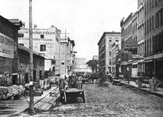 South Water Wholesale District, late 1860s, before vanishing in the Great Chicago Fire of 1871.
