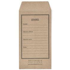 Graine & Semis, Sachets Kraft pour Graines, - Botanique Editions