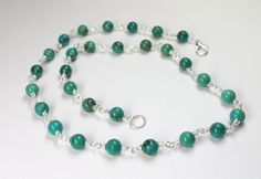Turquoise Necklace Turquoise Beaded Necklace by CaveGemstones