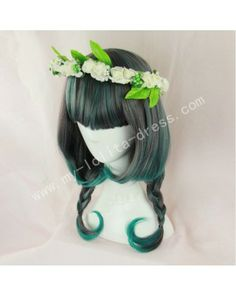 Brown Green Curls Lolita Wig 50cm Long #lolita  #wig