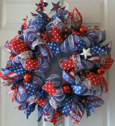 Celebrate America Wreath, Memorial Day Deco Mesh Wreath, Fourth of July Wreath, Summer Holidays, Red White Blue Wreath, Patriotic Wreath-love this wreath.