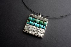 Turquoise White Gold and Cool Hematite unique artisan mosaic pendant