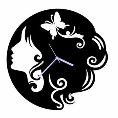Crysto Black Butterfly Girl Wall Clock,Wall Clocks-Wall-Clocks