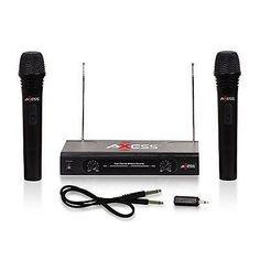 Axess Mpwl1504-Bk Professional Dual Wireless Microphone, Wireless Fm Receiver