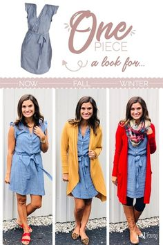One chambray dress, three ways! - One chambray dress, three ways! Mode Outfits, Casual Outfits, Fashion Outfits, Womens Fashion, Fashion Tips, Chambray Dress, Jeans Dress, Denim Shirt Dress Outfit, Fall Winter Outfits
