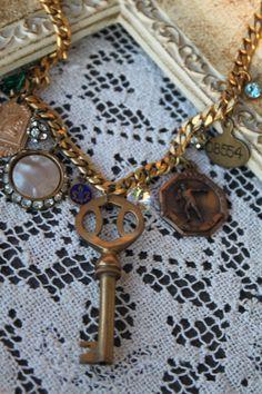 Vintage Charm Necklace Skeleton Key OOAK by SassySistersJewelry