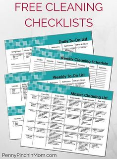 Free Cleaning Checklists -- to keep your house organized and cleaned. Tips on Daily, Weekly, Monthly and Annual Cleaning routines! Challenge your life with organization.
