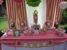 Pink and Green Ladybug 1st Birthday