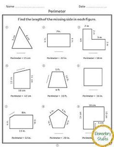 Area and Perimeter worksheets and activities. Area is the number of square units needed to Cover the region inside the figure. Perimeter is the distance Around outside of a figure. Area And Perimeter Worksheets, Area Worksheets, Math Practice Worksheets, Geometry Worksheets, School Worksheets, Printable Worksheets, Kindergarten Worksheets, Free Printable, Angles Worksheet