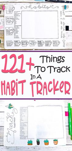Habit Tracker- Looking for great ideas to track in your bullet journal? Find 121 fun ideas for your habit tracker along with how to start them like a pro. Start habit tracking today! #bulletjournal #habittracker #bujo #planner #planning #tracker #habits #personaldevelopment #bujoideas #bujotracker #bulletjournalcommunity #journaling #journalideas