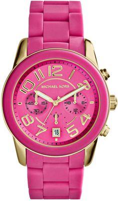 Michael Kors Womens Chronograph Mercer Pink Silicone Bracelet Watch