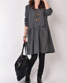 Dark Blue cotton dress Long sleeve dress by originalstyleshop, $55.00