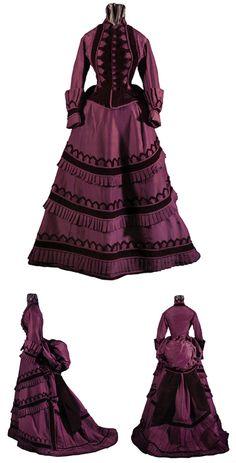 Day dress, American, ca. 1870-75. Silk faille and velvet. Henry Art Gallery, Univ. of Washington