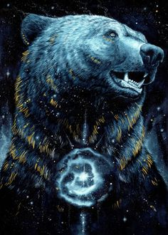 """Beautiful """"In The Darkness Bear"""" metal poster created by Jonna Hyttinen. Our Displate metal prints will make your walls awesome. Bear Spirit Animal, Spirit Bear, Bear Paintings, Lion Painting, Bear Tattoos, Bear Drawing, Bear Pictures, Himmelblau, Animal Posters"""