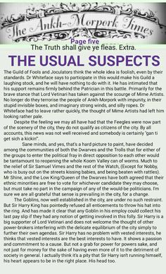 The Ankh-Morpork Times. The Truth shall give ye fleas. Extra. THE USUAL SUSPECTS. page five. by David Green 11 Feb 2016