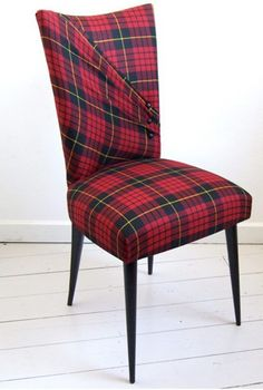 Aiveen Daly's McQueen Stiletto chair in red tartan upholstery. cool way to do tartan with a twist! Tartan Chair, Tartan Kilt, Tartan Decor, Tartan Fabric, Wallace Tartan, Tartan Fashion, Deco Design, Upholstered Furniture, Red Plaid