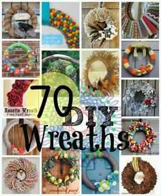 70 DIY Wreaths. For Christmas, I'm getting a tub and putting a bunch of these in them and just giving it to my mother in law!