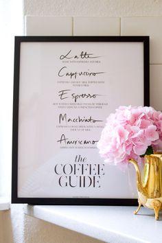 coffee, print, decor, kitchen decor, gold, and pink, sealoe print, coffee guide print