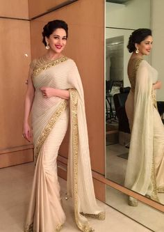 Bollywood actress Madhuri dixit nene in saree Bollywood Saree, Bollywood Fashion, Bollywood Actress, Indian Dresses, Indian Outfits, Sari Bluse, Indische Sarees, Indie Mode, Stylish Sarees