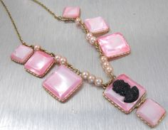 Vintage Pink Mother Of Pearl Cameo Necklace by TonettesTreasures, $24.00