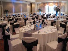White, navy blue, and silver wedding setup!  Winter wonderland theme.