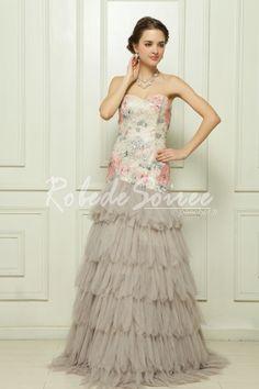 0acc2e528a3 Le paillettes malaise satin fleur robe de soirée grise  Vitoria1305160054   - €193.75   Robe de Soirée Pas Cher