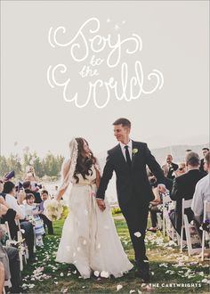 Unique & modern handwritten Christmas Card.  Perfect for newlyweds!  | Joy to the World Holiday Photo Card by Mink