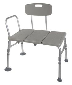 Drive Medical Plastic Transfer Bench with 3 Position Backrest, Gray