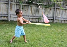 water balloon pinata- put it in a mesh bag and then you don't have to worry about all those little pieces of broken balloon.