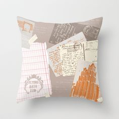 vintage postcards pillow  by: flying bathtub