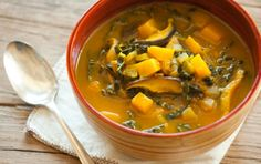 Garlic, Tumeric, Mushrooms, kale, and Ginger are all known to help with coughs and colds and can all be found in this soup - Better than Chicken Soup | Whole Foods Market