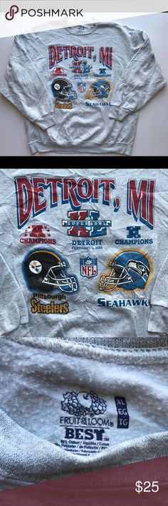 2006 Super Bowl Steelers Seahawks NFL Sweatshirt Item is in great condition with no signs of any flaws. Let me know if you have any questions! Fruit of the Loom Shirts Sweatshirts & Hoodies