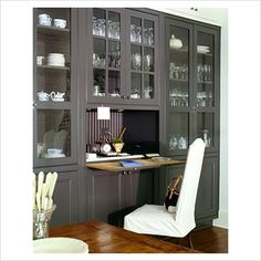 Butler's Pantry-pantry office idea-hidden desk work area, – Home Office Design Vintage Hidden Desk, Built In Desk, Built In Bookcase, Built Ins, Bookcases, Painted Bookshelves, Hidden Kitchen, Kitchen Desk Areas, Kitchen Desks