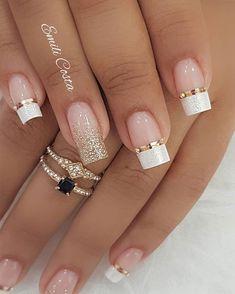 Perfect Nails, Gorgeous Nails, Beautiful Rings, Winter Nail Designs, Nail Art Designs, French Nail Designs, French Manicure With Design, White Tip Nail Designs, Nagellack Design