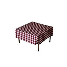 Table in a Bag TC2828RW Square Polyester Gingham Tablecloth, 28-inch by 28-inch, Red and White Checkered Pattern
