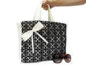 SPRING SALE // Tote Bag, Lace bag, Black, White, Crochet Lace, Black Lace, Black Bag, Neoprene, Bow, Tablet Bag, Black Bag, Pocket bag, Soft
