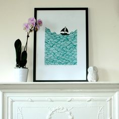 Boat silkscreen print.  Could totally make this.