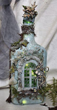 Glass Bottle Crafts, Wine Bottle Art, Diy Bottle, Bottles And Jars, Glass Bottles, Jar Crafts, Kids Crafts, Vintage Bottles, Paperclay