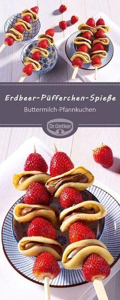 Erdbeer-Püfferchen-Spieße: Ein fruchtiger Snack aus Erdbeeren und Buttermilch-… Strawberry Pufferer Skewer: A fruity snack made from strawberries and buttermilk pancakes # Strawberry skewers Erdbeer-Rezepte Smoothie Recipes, Snack Recipes, Dessert Recipes, Cooking Recipes, Healthy Recipes, Smoothie Detox, Easy Brunch Recipes, Pancake Recipes, Delicious Breakfast Recipes