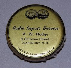 Vintage RCA Record Cleaner Pad, V.W. Hodge Radio Repair Service, Claremont, NH.