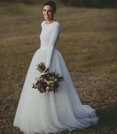 Modern Bridal Dresses Elegant Discount Elegant Long Sleeve Country Wedding Dresses Ivory Two Piece formal Bridal Dress Jersey and Long Tulle Wedding Gowns Simple but Modern 2017 Country Wedding Dresses, Long Wedding Dresses, Tulle Wedding, Cheap Wedding Dress, Christmas Wedding Dresses, Camo Wedding, Wedding Beach, Luxury Wedding, Rustic Wedding