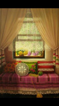 Curtains Ideas curtain paintings : oil painting .[.günseli kapucu]...Windows and lace curtains ...